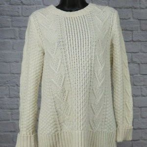 Gap Maternity Cream Crew Chunky Cable Knit Sweater